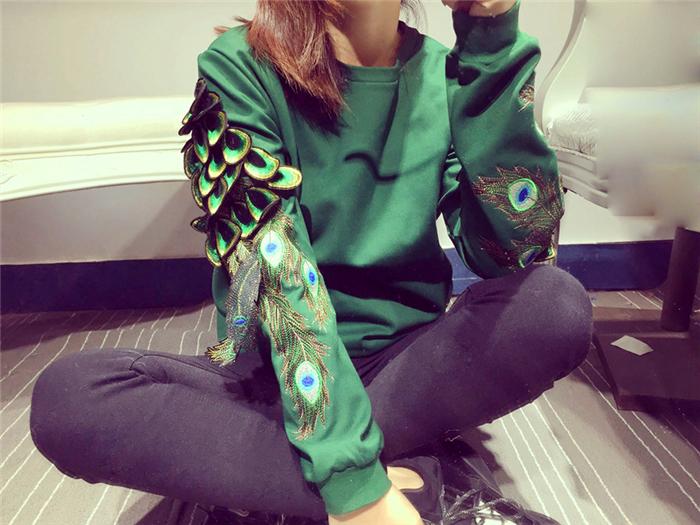 【孔雀羽毛刺绣长袖加绒卫衣】-衣服-卫衣/绒衫