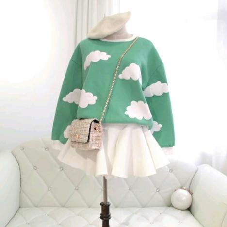 2015秋冬装韩版可爱小清新云朵显瘦长袖卫衣宽松女款软妹短裙
