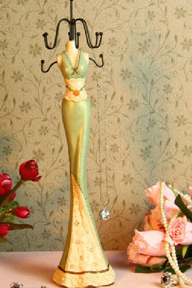 美女模特 韩式首饰架/置物架 树脂手绘 淡绿