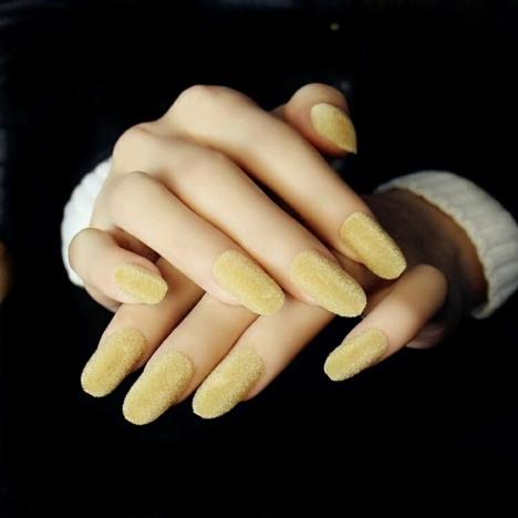 复古欧式姜黄圆头丝绒成品假指甲贴片24片盒装美甲