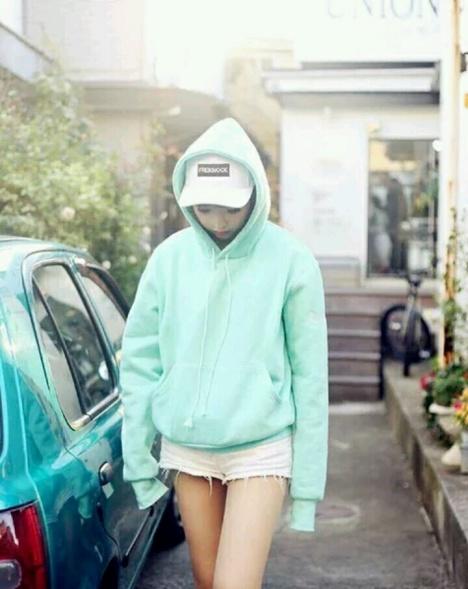 【韩版ulzzang日系纯色薄荷绿少女宽松连帽加绒长袖