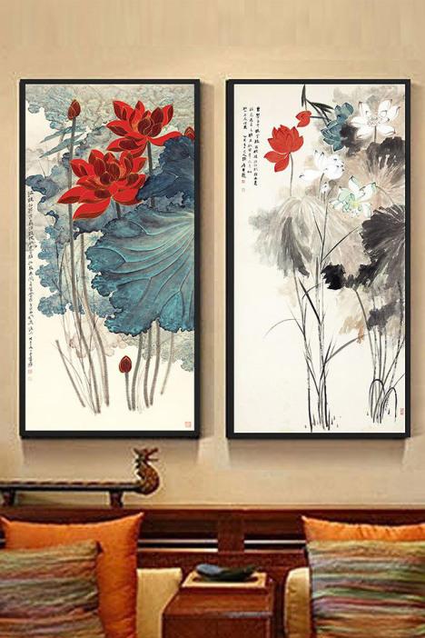 新中式装饰画玄关挂画横壁画竖条木式荷花