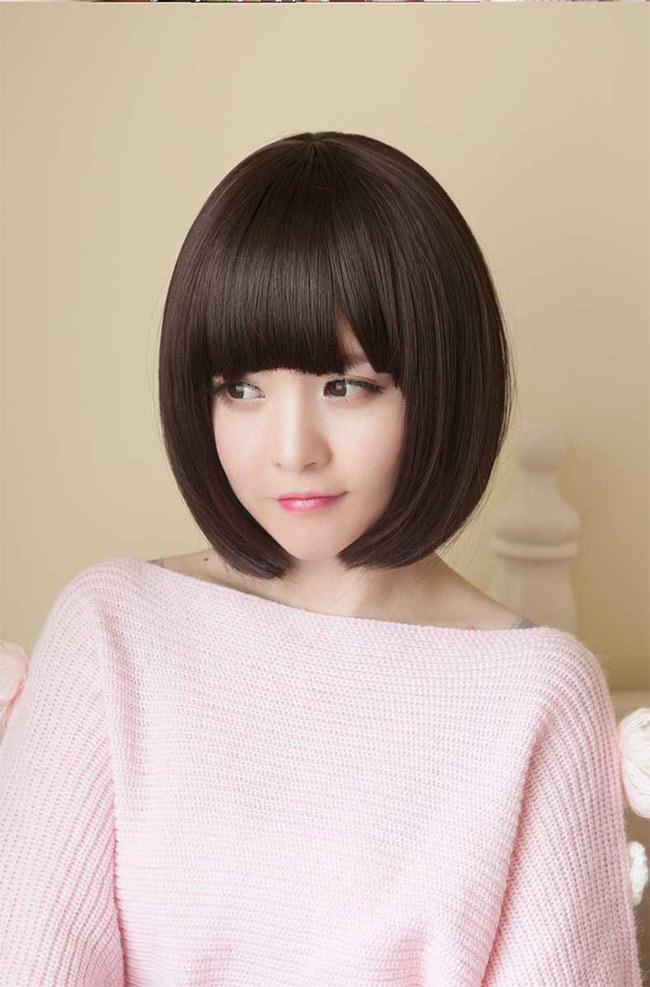 齐刘海可爱短发型bobo头 女生高温丝短直发韩国全头套假发