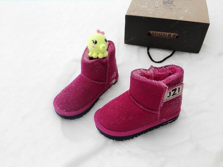 儿童手绘鞋 小雪人圣诞树短筒加绒加厚保暖童靴 图案可订制