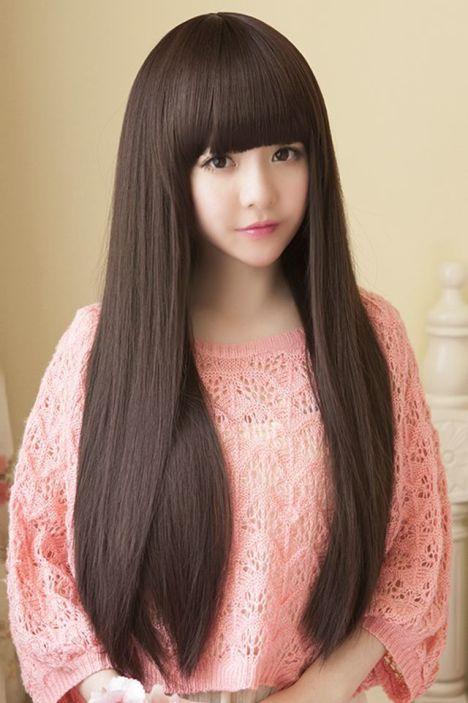 送七件套 韩国齐刘海长直发淑女学生可爱高温丝逼真整顶全头套