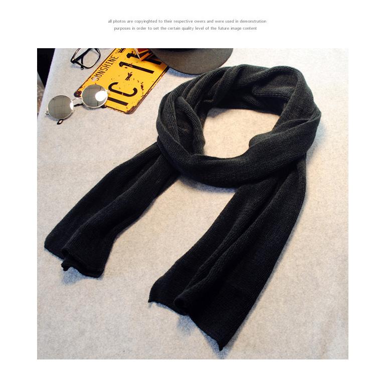 新款冬季男士围巾英伦风黑色纯色保暖情侣围巾