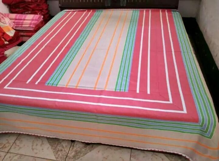 纯手工编织的老粗布床单,上等纯棉线,捉角花边.