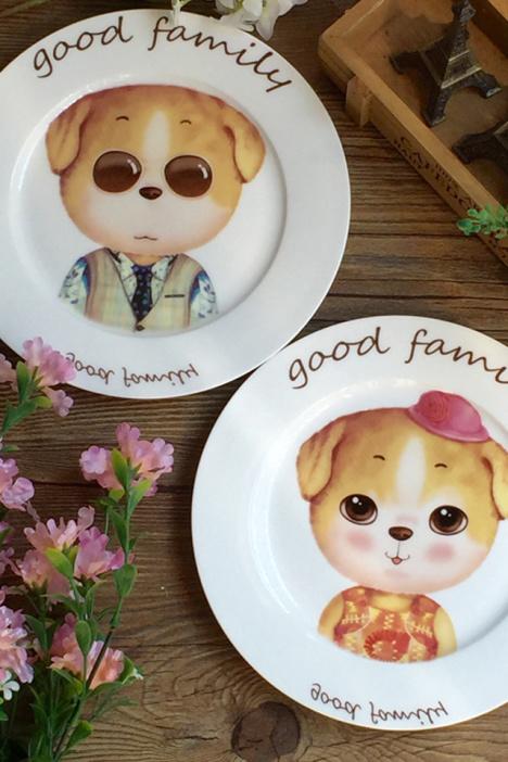 可爱小清新手绘萌zakka北欧文艺早餐零食糕点瓷碟子平盘