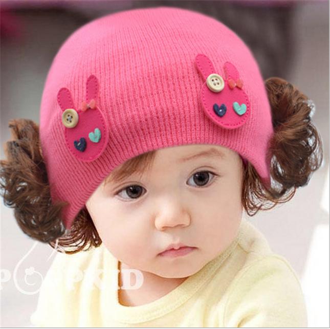 儿童可爱帽子女宝宝假发帽纯棉