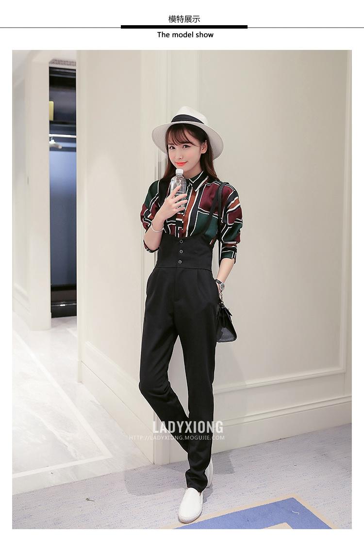 ladyxiong 棉弹面料高腰排扣背带裤