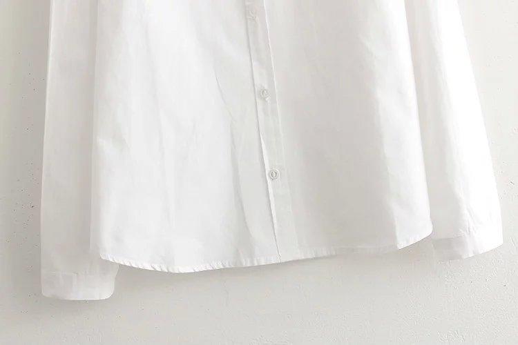 简约小清新白搭发财树刺绣纯棉白衬衫