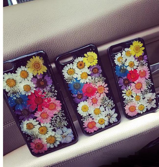 苹果5s手机壳手工定制森系真花干花永生花朵