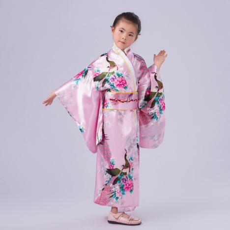 【日本女式仿真丝孔雀印花和服儿童舞蹈演出表演摄影