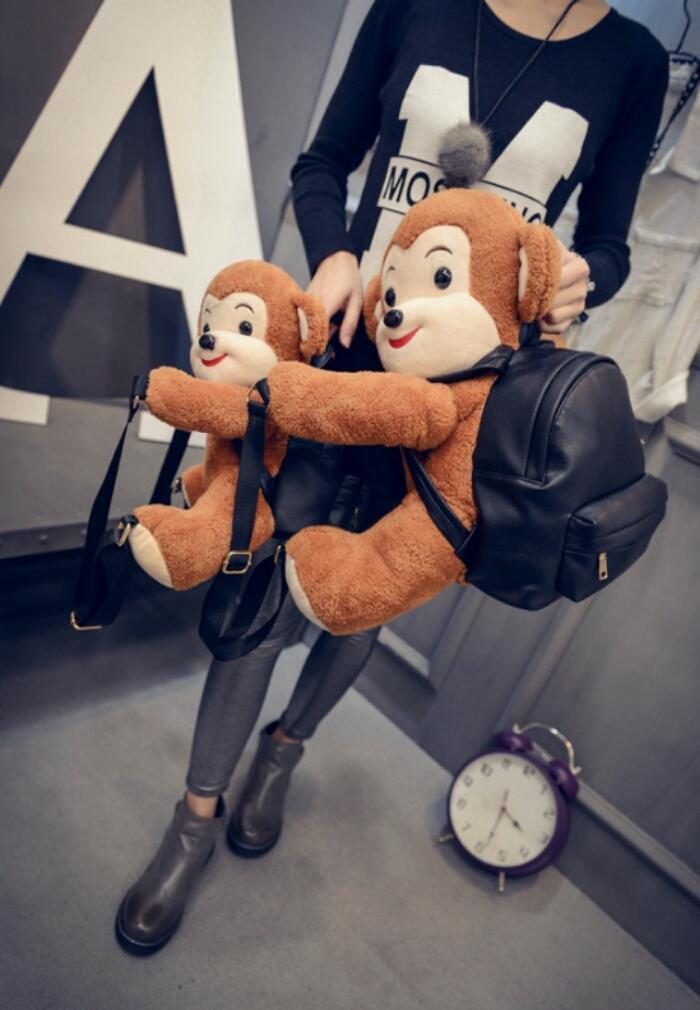 【2016新款东大门可爱呆萌猴子玩偶亲子情侣双肩包】
