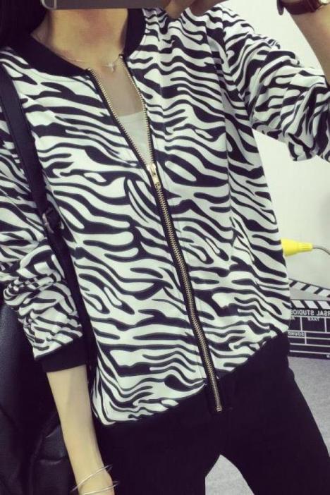 韩版女生上衣斑马纹立领小外套