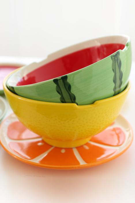 汤碗,碟子,盘子,勺子,可爱水果碗
