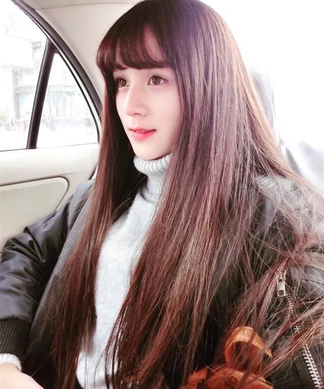 中长发发型空气刘海图片