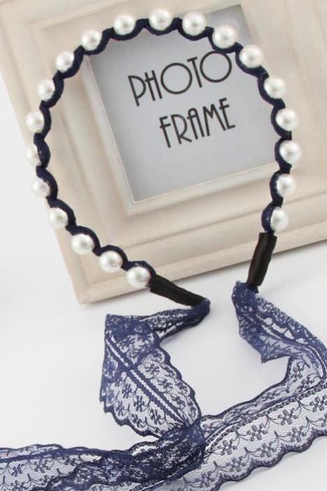 時尚名媛風珍珠纏繞蕾絲飄帶發箍