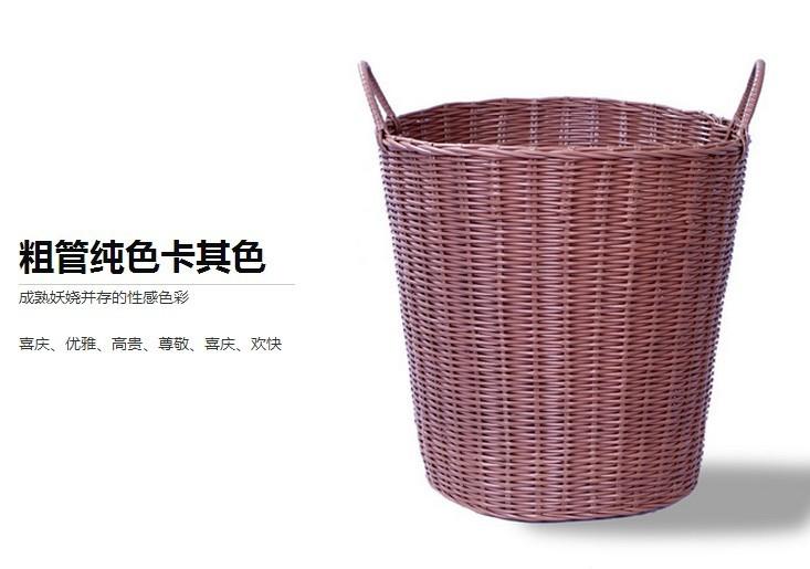 【特大号粗管塑料桶脏衣服收纳筐篮藤编脏衣篮篓】