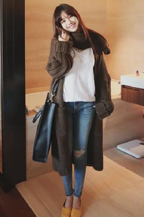 (送围巾)冬季新品纯宽松长款衫