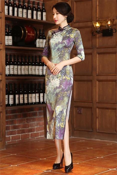 珍爱一生 长款旗袍裙 新款改良时尚桑蚕丝中袖双层旗袍