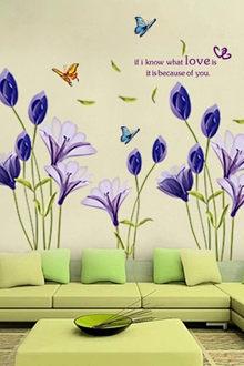 Tấm dán tường họa tiết hoa tím bắt mắt