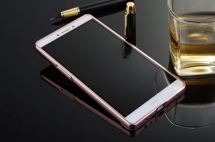 送钢化膜 oppo r7plus电镀镜面金属边框背板手机壳套