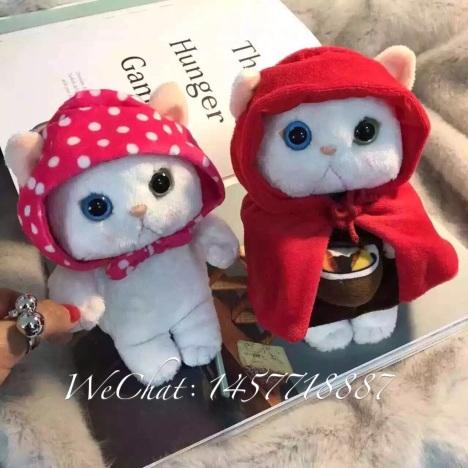 韩国可爱小猫公仔 手机壳苹果毛绒猫咪保护套挂绳