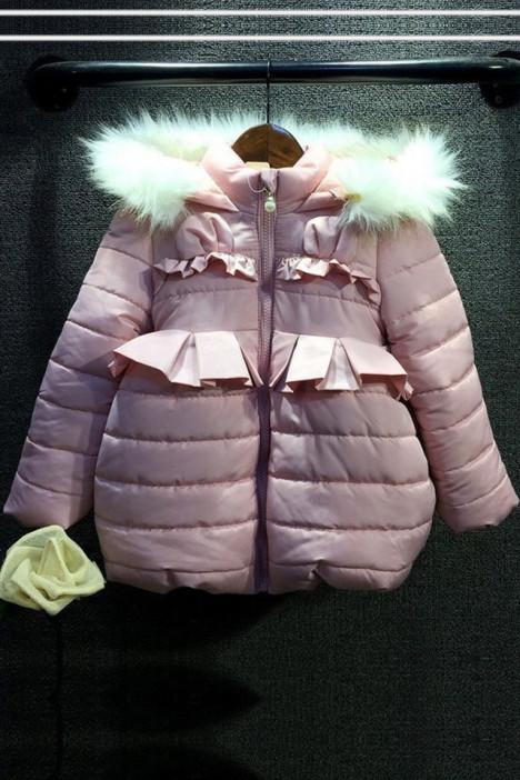 冬装新款韩版可爱中小童女童荷叶边带毛领加厚棉服