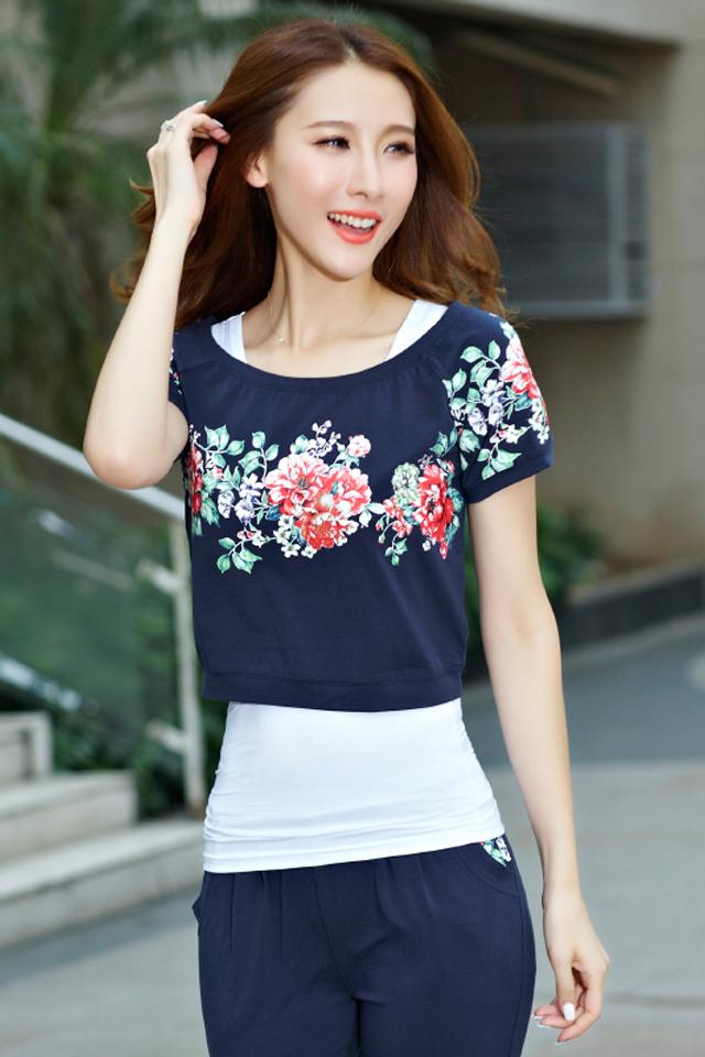 夏季休闲套装夏装2016新款韩版学生少女装卫衣运动服三件套装