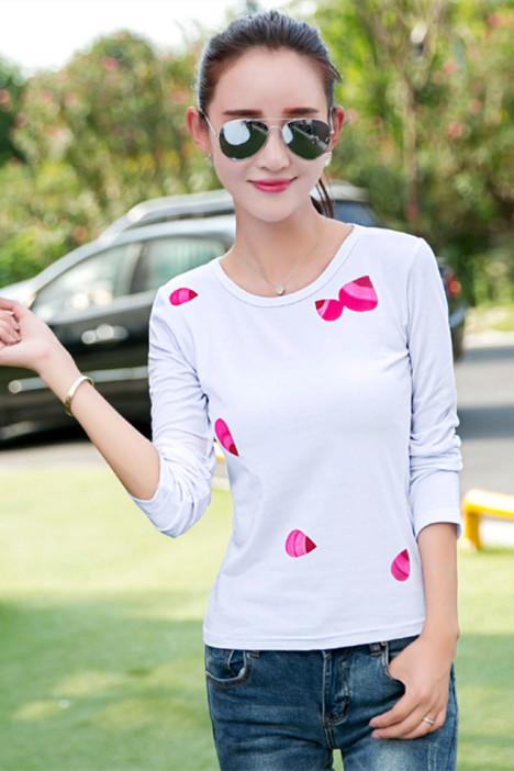 秋冬五片树叶创意印花个性修身纯棉长袖女t恤