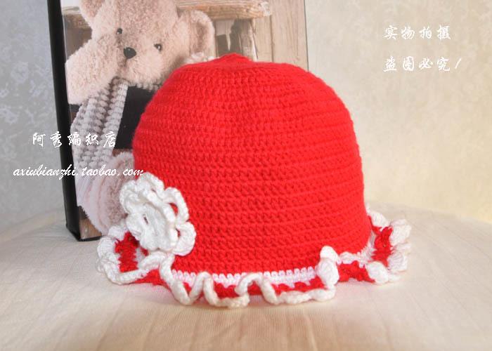 手工编织宝宝婴儿帽子韩版可爱儿童毛线帽子公主帽春秋大花朵红色
