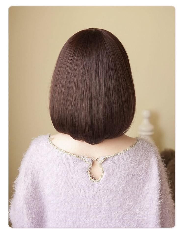 高温丝女生韩国发型波波bobo梨花头斜刘海蓬松逼真短发直发图片