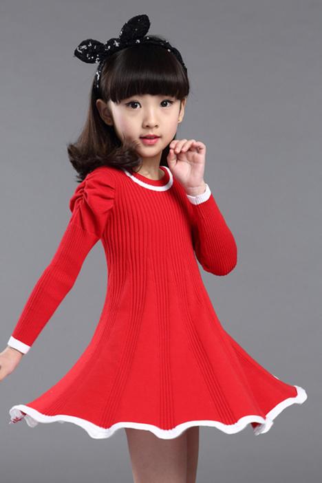 女童针织衫时尚,儿童毛衣毛线衣,女孩连衣裙子,女孩打底衫纯色,韩版