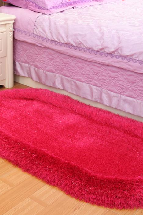 【欧式椭圆形弹力丝床边地毯卧室儿童房间床前榻榻米