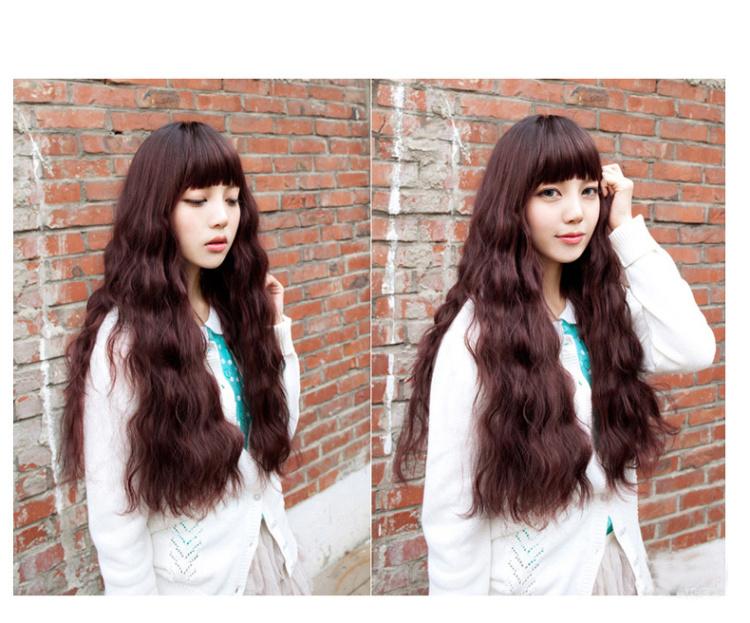 长卷发 齐刘海玉米烫长发逼真蓬松大波浪整顶发套图片