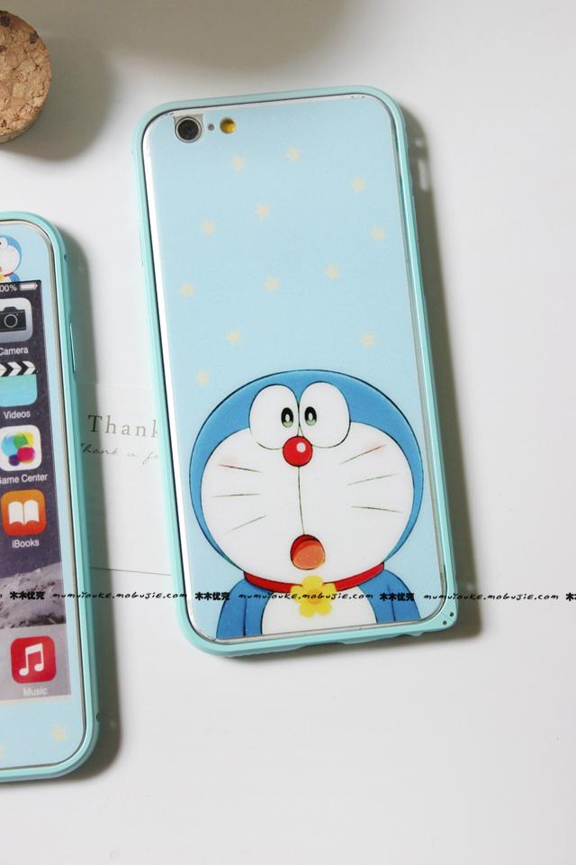 iphone5/6s plus哆啦a梦钢化膜 边框手机壳套装