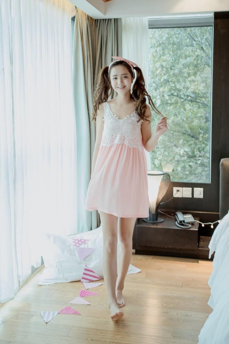 韩范花边小可爱公主吊带睡裙