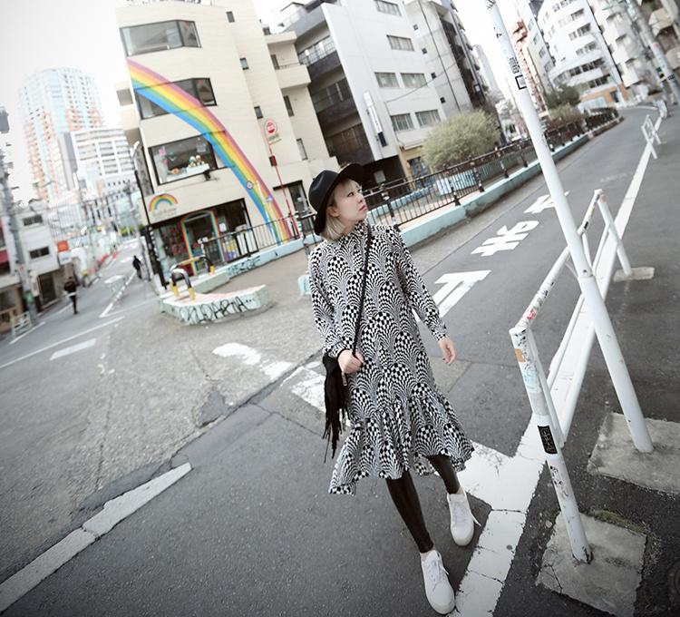 【韩版鱼鳞花纹格子连衣裙】-无类目-裙子