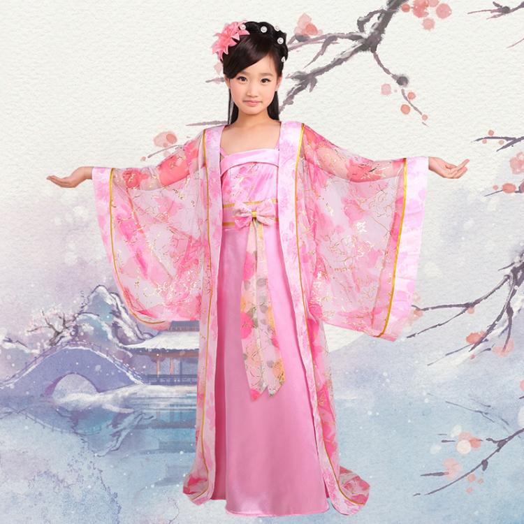 特价儿童古装唐装女童古代唐朝拖尾公主贵妃装舞蹈表演出服装汉服