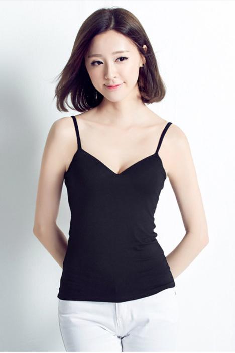 韩版性感深v无钢圈薄棉杯打底吊带内衣