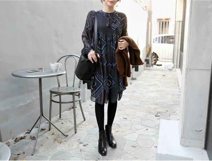 春装新款韩版复古几何花纹雪纺连衣裙 0931