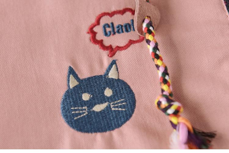 春装新款森女系可爱猫咪刺绣连帽学生外套