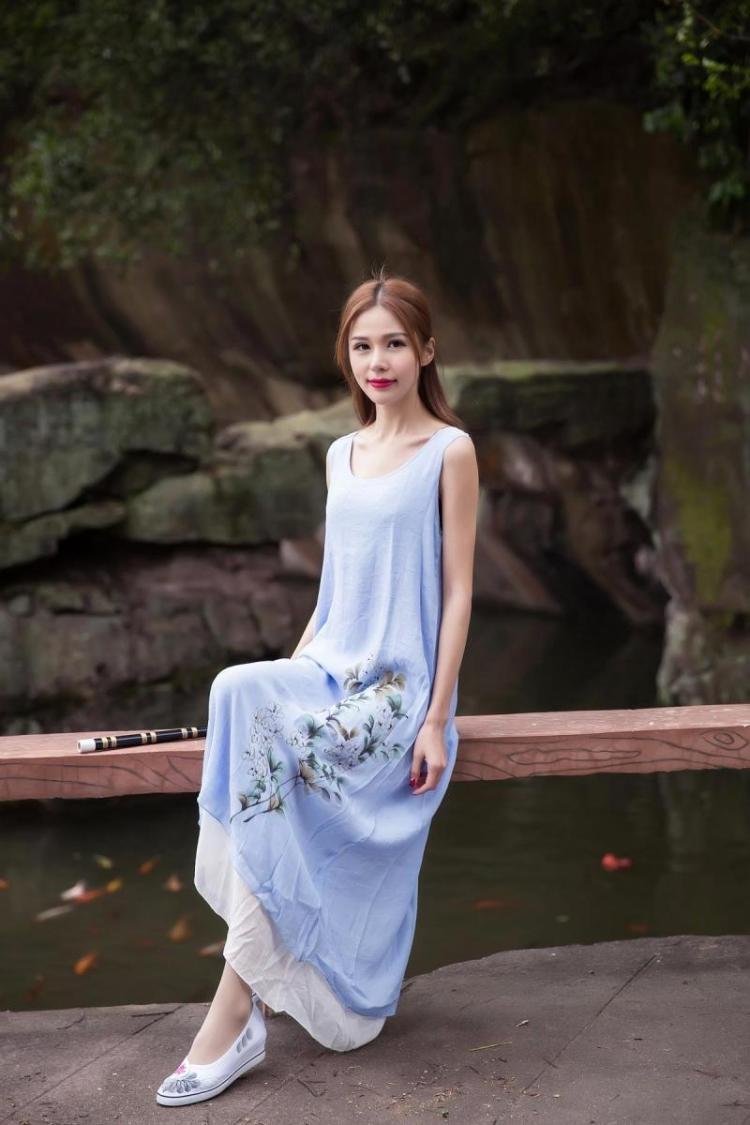 中国风 夏季新款文艺复古手绘印花连衣裙背心宽松长裙孕妇裙