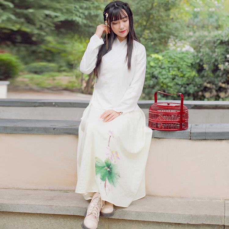 【汉服】中国风女装复古手绘荷叶边大摆半身长裙