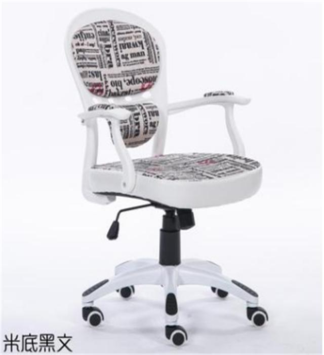 【欧式田园风电脑椅办公椅转椅学生职员家用白色书】