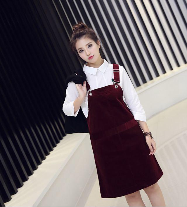 【韩版灯芯绒修身背带裙】-衣服-裙子