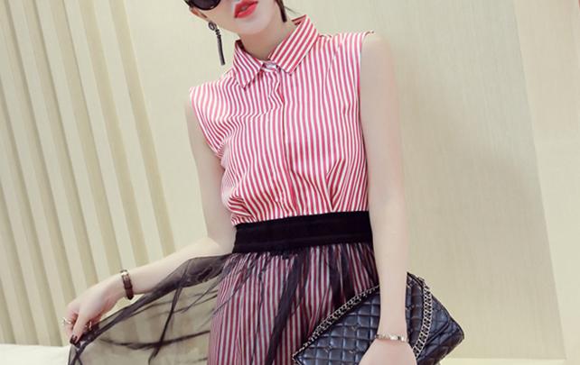 【清新条纹衬衫+蓬蓬半裙套装】-衣服-服饰鞋包
