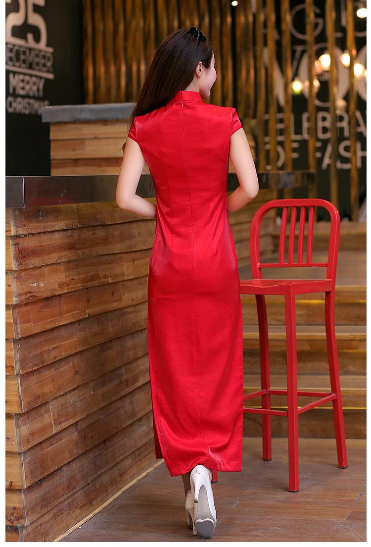 【春夏新款长款婚庆礼仪旗袍女士小姐迎宾婚礼服红
