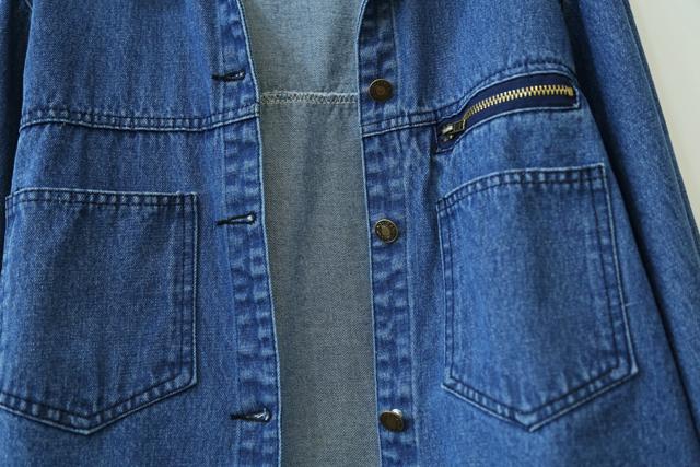 春季新品百搭横拉链双口袋宽松显瘦牛仔外套